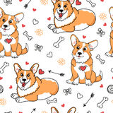 Funny dog background. Very cute seamless pattern with corgi and funny element. Funny dog background Royalty Free Stock Photography