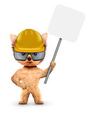 Funny dog with banner isolated on white. Funny dog in hard hat with banner isolated on white. Constructor and handyman concept. 3D illustration Royalty Free Stock Photos