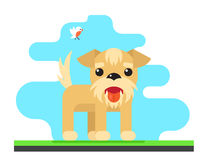 Funny Dog Bird Sky Background Concept Flat Design Vector Illustration Royalty Free Stock Images