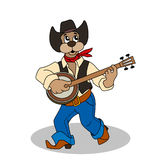 Funny dog in blue jeans and hat plays banjo Stock Image