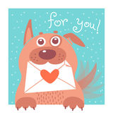 Funny dog brought the envelope. Vector Royalty Free Stock Photos