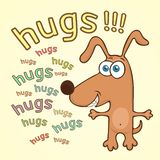 Funny dog, cartoon character, painted cute animal, colorful drawing. Comical brown puppy open arms for hugs and text, isolated on. Yellow background, cheerful vector illustration