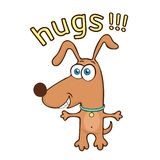 Funny dog, cartoon character, painted cute animal, colorful drawing. Comical brown puppy open arms for hugs and text, isolated on. White background, cheerful vector illustration