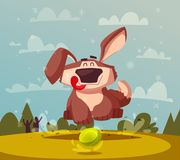 Funny dog. Cartoon vector illustration. Cute puppy is playing stock illustration