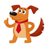 Funny dog character in red tie showing thumb up Stock Photography