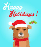 Funny Dog With Christmas Hat In Flat Style. Happy Holidays Postcard Design. Funny Dog. Stock Photo