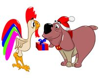Funny dog in a Christmas hat gives a gift to a cock. Vector illustration Stock Photo