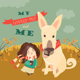 Funny dog with cute girl stock photography