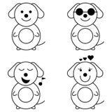 Funny dog emotion set vector illustration. On the white background Stock Photos