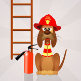 Funny dog firefighter Royalty Free Stock Photography