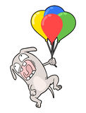 Funny dog flying with balloons Stock Images
