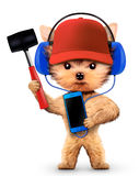 Funny dog with hammer and smartphone Royalty Free Stock Photos