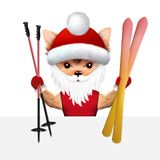 Funny Dog hold ski with skiing sticks. Funny Dog wearing hat and hold ski with skiing sticks. New Year or Christmas concept. Realistic 3D illustration stock illustration