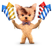 Funny dog holding firework rockets. Isolated on white background. Concept of fun party. Realistic 3D illustration Royalty Free Stock Images
