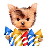 Funny dog holding firework rockets. Isolated on white background. Concept of fun party. Realistic 3D illustration Stock Image