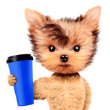 Funny dog holding shaker or water bottle Stock Images