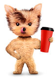 Funny dog holding shaker or water bottle Stock Photo