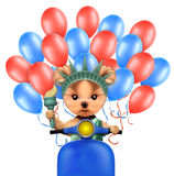 Funny dog holding torch. Concept of 4th of July. Funny dog holding torch, sitting on scooter and surrounded by balloons. Concept of 4th of July and Independence Stock Photography