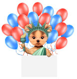 Funny dog holding USA flag. Concept of 4th of July. Funny dog holding USA flags, poster and surrounded by balloons. Concept of 4th of July and Independence Day Royalty Free Stock Photography