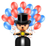 Funny dog holding USA flag. Concept of 4th of July. Funny dog holding USA flags, sitting on scooter and surrounded by balloons. Concept of 4th of July and Stock Photos