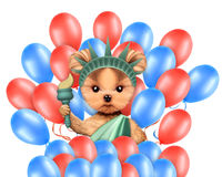 Funny dog holding USA flag. Concept of 4th of July. Funny dog holding USA flags and surrounded by balloons. Concept of 4th of July and Independence Day Royalty Free Stock Photos