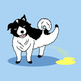 Funny dog peeing happy hand drawn vector illustration Stock Images