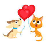 Funny dog, puppy and cat, kitten holding heart shaped balloon Stock Image