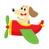Funny dog, puppy pilot character flying on airplane, cartoon illustration Royalty Free Stock Image