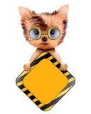 Funny dog with road sing isolated on white. Funny dog in safety glasses with road sing isolated on white. Concepts for web banners, web sites. Fixing computer Royalty Free Stock Photos