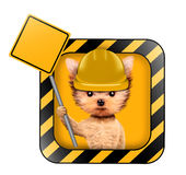 Funny dog with road sing isolated on white. Funny dog in yellow hard hat with road sing isolated on white. Concepts for web banners, web sites. Fixing computer Stock Photography