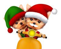 Funny Dog Santa and Elf. Christmas concept. Cute Dog Santa and Elf on a scooter. New Year and Christmas concept. Realistic 3D illustration Stock Images