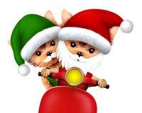 Funny Dog Santa and Elf. Christmas concept. Cute Dog Santa and Elf on a scooter. New Year and Christmas concept. Realistic 3D illustration royalty free illustration