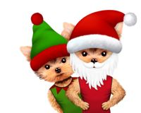 Funny Dog Santa and Elf. Christmas concept. Funny Dog Santa wearing hat, beard and moustache with Elf. New Year and Christmas concept. Realistic 3D illustration Stock Photo