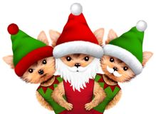 Funny Dog Santa and Elf. Christmas concept. Funny Dog Santa wearing hat, beard and moustache with Elf. New Year and Christmas concept. Realistic 3D illustration vector illustration