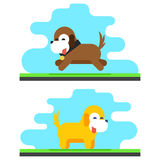 Funny Dog Sky Background Concept Flat Design Vector Illustration Royalty Free Stock Images