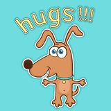 Funny dog sticker, cartoon character, painted cute animal, colorful drawing. Comical brown puppy open arms for hugs and text,. Isolated on blue background stock illustration