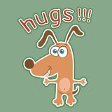 Funny dog sticker, cartoon character, painted cute animal, colorful drawing. Comical brown puppy open arms for hugs and text,. Isolated on green background stock illustration