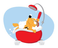 Funny dog taking a bath - pet grooming. A vector cartoon representing a cute funny dog taking a bat in a bathtube and using a backscrubber - pet grooming concept vector illustration