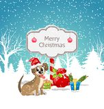 Funny Dog Wearing Santa Hat with Christmas Gift Boxes. Winter Nature Snowing Background - Illustration Vector Stock Image
