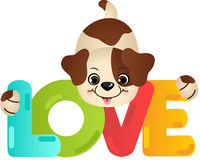 Funny dog on the word love Royalty Free Stock Photography