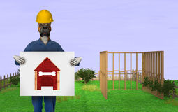 Funny Doghouse Home Improvement Illustration. Fun and funny illustration of a construction worker handyman dog who is doing home improvement and building a Stock Photo