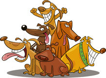 Funny dogs. Cartoon illustration of funny dogs group