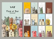 Funny dogs, calendar 2018 design. Vector illustration Royalty Free Stock Images
