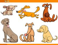 Funny dogs cartoon characters set vector illustration