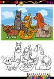 Funny dogs cartoon coloring book Stock Image