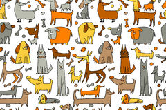 Funny dogs collection, seamless pattern for your design Royalty Free Stock Images