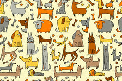Funny dogs collection, seamless pattern for your design Royalty Free Stock Photos