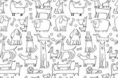 Funny dogs collection, seamless pattern for your design Stock Image