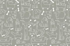Funny dogs collection, seamless pattern for your design Royalty Free Stock Image