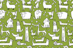 Funny dogs collection, seamless pattern for your design Stock Photo
